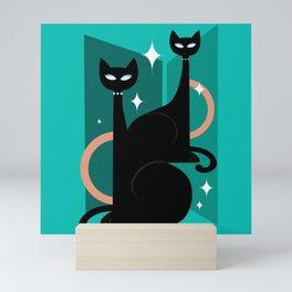 Fashionable Felines Atomic Age Black Kitschy Cats Mini Art Print