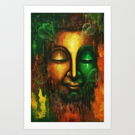 Abstract Lord Buddha Face Art Print