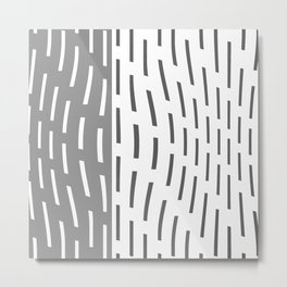 Pattern In Gray And Whte Metal Print