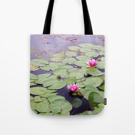 Lily pond with pink water lilies Tote Bag