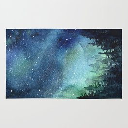 Galaxy Watercolor Space Night Sky Nebula Painting Aurora Rug