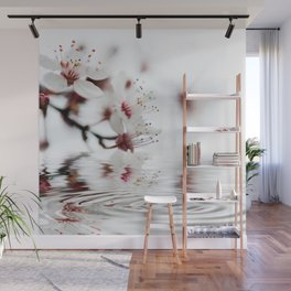 white cherry blossom and water reflection Wall Mural