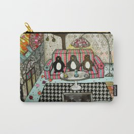 """Penguins are watching TV""  Illustrated print. Carry-All Pouch"