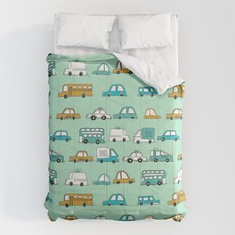 Cars trucks buses city highway transportation illustration cute kids room gifts Comforters