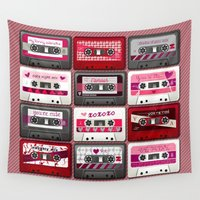 valentines Wall Tapestries featuring Valentines Mix Tapes by Dusty Pony Design