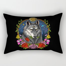 Psychedelic Wolf Trippy Moon Phases Rectangular Pillow