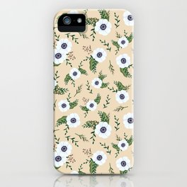 Yellow Anemones Floral Pattern Illustration iPhone Case
