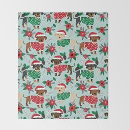 Dachshund christmas sweater poinsettia cute holiday gifts doxie dachsie dog breed Throw Blanket