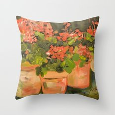 Geranium Pots Throw Pillow