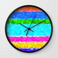 miami Wall Clocks featuring Miami by Saundra Myles