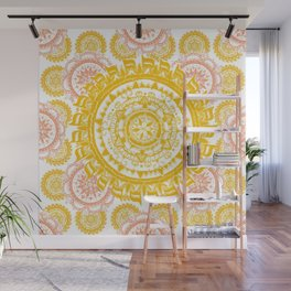 Citrus and Salmon Colored Mandala Textile Wall Mural