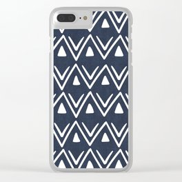 Etched Zig Zag Pattern in Navy Blue Clear iPhone Case