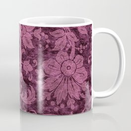 Burgundy Turquoise Velvet Floral Pattern 03 Coffee Mug