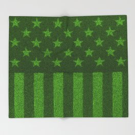 The grass and stripes / 3D render of USA flag grown from grass Throw Blanket