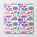 Colorful seamless pattern with patches: pineapples, pizza slices, hearts, etc by innapoka