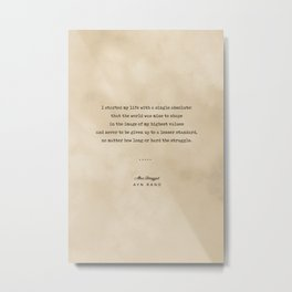 Ayn Rand Quote 01 - Typewriter Quote on Old Paper - Minimalist Literary Print Metal Print