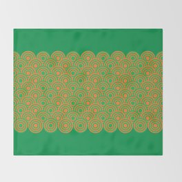 op art pattern retro circles in green and orange Throw Blanket