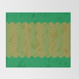 op art pattern retro circles in green and orange Throw Blanket