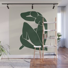 Matisse Abstract Nude II, Forest Green, Mid Century Art Decor Wall Mural