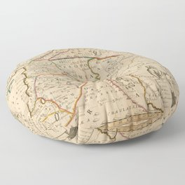 Vintage Map Print - Map of the Middle East: Turkey, Syria, Iraq, Israel etc. (1712) Floor Pillow