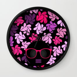 Afro Diva Pink Purple Wall Clock