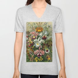 Victorian Orchids Floral Print-Ernst Haeckel Unisex V-Neck