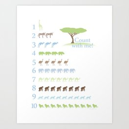 Counting Safari Animals - Brody colorway Art Print