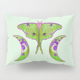 Luna Moth and Tripe Moon - Green and Lilac Pillow Sham
