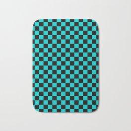 Black and Cyan Checkerboard Bath Mat