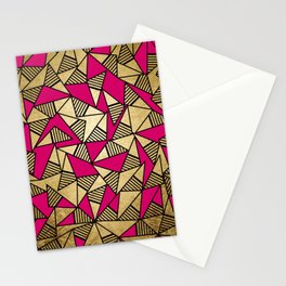 Glam Faux Gold, Black, and Pink Striped Triangles Geometric Stationery Cards