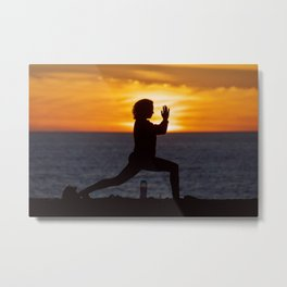 Living a healthy lifestyle doing yoga on a cliff at sunset. Metal Print