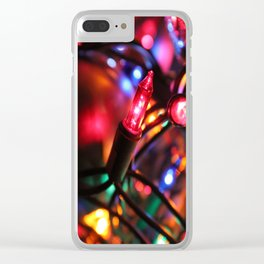 Pink Christmas Light Clear iPhone Case