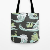 sloths Tote Bags featuring Surfin' Sloths  by The Art of Shinn