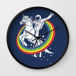 Astronaut riding a unicorn Wall Clock