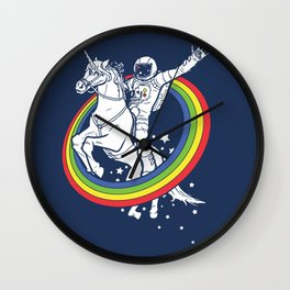 Astronaut riding a unicorn Wall Clock