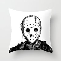 michael myers Throw Pillows featuring Jason VS Michael Myers by Oscars Moreno