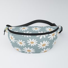 Daisies - daisy floral repeat, daisy flowers, 70s, retro, black, daisy florals dusty blue Fanny Pack