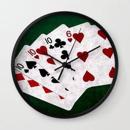 Poker Four Of A Kind Ten Six Wall Clock