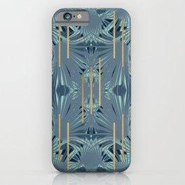 Tropical Art Deco 1.1a Blue, Green, Gold iPhone Case