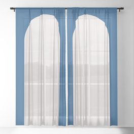 Minimal Arch - Classic Blue Sheer Curtain