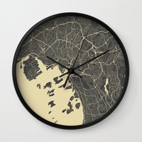 oslo Wall Clocks featuring Oslo Map by Map Map Maps