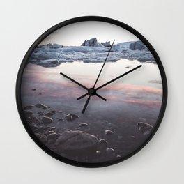 Jokulsarlon Lagoon - Sunset - Landscape and Nature Photography Wall Clock