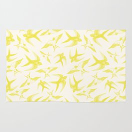 Swooping Swallows in Yellow Rug