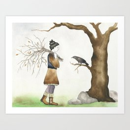 Meeting With a Raven Art Print