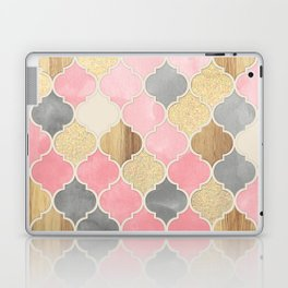 Silver Grey, Soft Pink, Wood & Gold Moroccan Pattern Laptop & iPad Skin