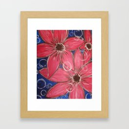 Flowers and Bubbles Framed Art Print