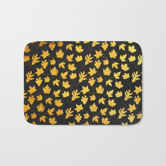 AUTUMN - gold leaves on chalkboard background Bath Mat