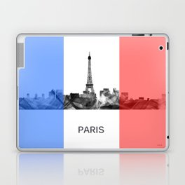 Paris, France skyline WB BW with French flag Laptop & iPad Skin