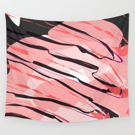 Black Pink Clouds with Red Sauce Abstract Art Wall Tapestry