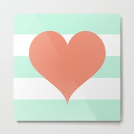 Large Heart on Stripes in Coral and Mint Metal Print